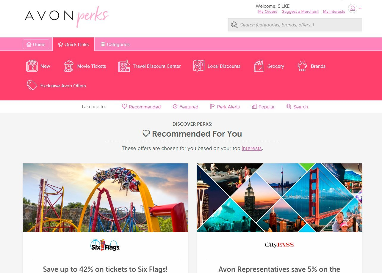Avon Perks discount website